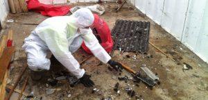 Clearing asbestos debris